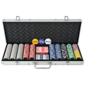 Conjunto de póquer com 500 fichas a laser, alumínio - PORTES GRÁTIS