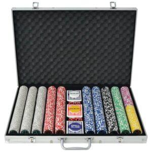 Conjunto de póquer com 1000 fichas a laser, alumínio - PORTES GRÁTIS