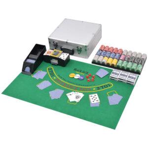 Conjunto de póquer/blackjack com 600 fichas em alumínio - PORTES GRÁTIS