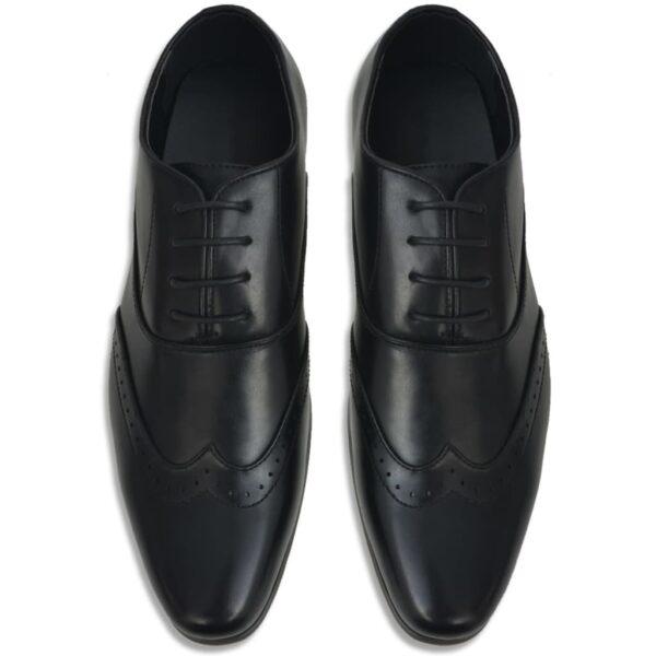 Sapatos brogue homem c/ atacadores tamanho 40 couro PU preto - PORTES GRÁTIS