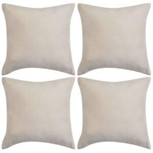 Capa de almofada de camurça sintética 4 pcs 50x50 cm bege - PORTES GRÁTIS