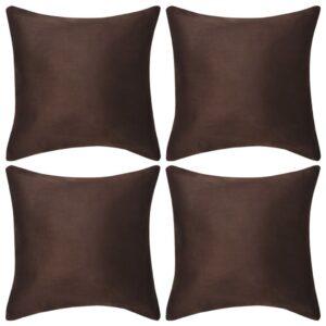 Capa de almofada de camurça sintética 4 pcs 40x40 cm castanho - PORTES GRÁTIS