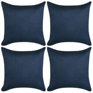Capa almofada de camurça sintética 4 pcs 50x50 cm azul marinho - PORTES GRÁTIS