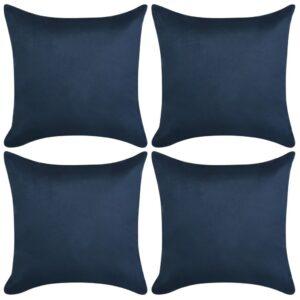 Capa almofada de camurça sintética 4 pcs 80x80 cm azul marinho - PORTES GRÁTIS
