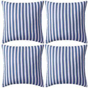 Almofadas para exterior 4 pcs 45x45 cm riscas azul-marinho - PORTES GRÁTIS