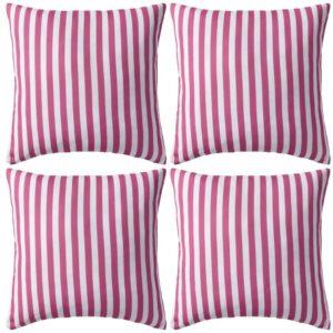Almofadas para exterior 4 pcs 45x45 cm riscas rosa - PORTES GRÁTIS