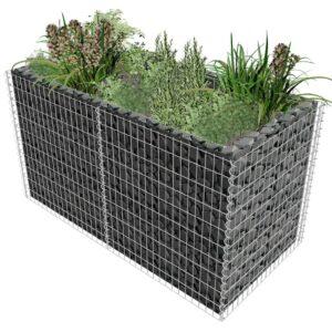 Vaso para plantas em aço 180x90x100 cm prateado - PORTES GRÁTIS