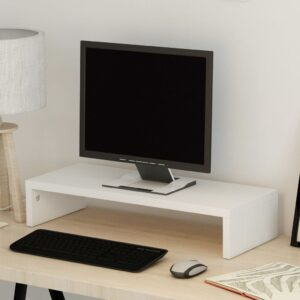 Suporte para monitor em madeira compensada 60x23,5x12 cm branco  - PORTES GRÁTIS