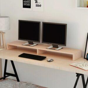 Suporte para monitor de madeira compensada 118x23,5x9 cm bege - PORTES GRÁTIS