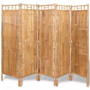 Divisórias de sala, 5 painéis, bambu, 180x180 cm - PORTES GRÁTIS