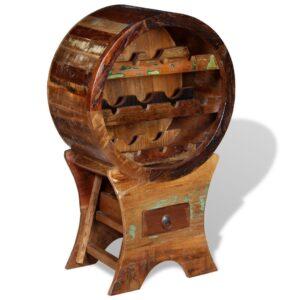 Garrafeira para 10 garrafas madeira recuperada maciça - PORTES GRÁTIS