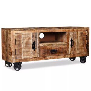 Móvel de TV madeira de mangueira áspera 120x30x50 cm - PORTES GRÁTIS