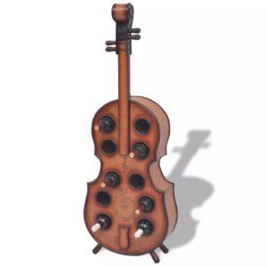 Garrafeira em forma de violino 10 garrafas castanho - PORTES GRÁTIS