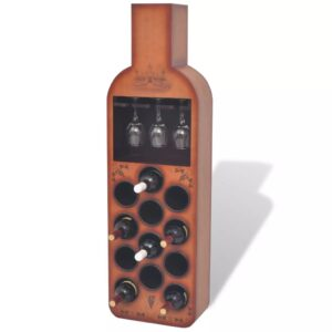 Garrafeira em de forma de garrafa p/ 12 garrafas castanho - PORTES GRÁTIS