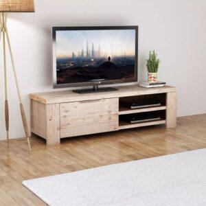 Móvel de TV em madeira de acácia escovada 140x38x40 cm - PORTES GRÁTIS