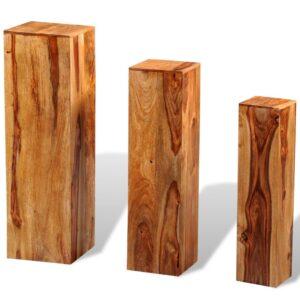 Suportes para plantas 3 pcs madeira de sheesham maciça castanho - PORTES GRÁTIS