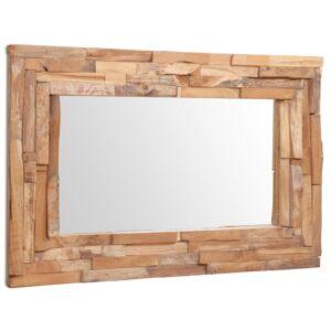 Espelho decorativo em teca 90x60 cm retangular  - PORTES GRÁTIS