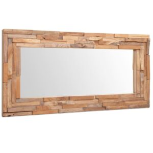 Espelho decorativo em teca 120x60 cm retangular - PORTES GRÁTIS