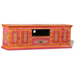 Armário TV madeira mangueira maciça rosa, pintado à mão  - PORTES GRÁTIS