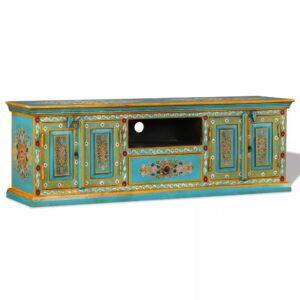 Armário TV madeira mangueira maciça azul, pintado à mão  - PORTES GRÁTIS