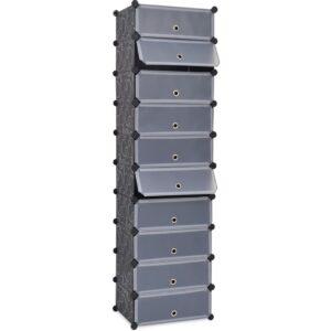 Sapateira c/ 10 compartimentos de arrumação interligados preto - PORTES GRÁTIS