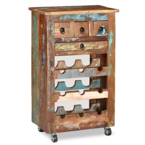 Garrafeira para 9 garrafas madeira reciclada maciça - PORTES GRÁTIS