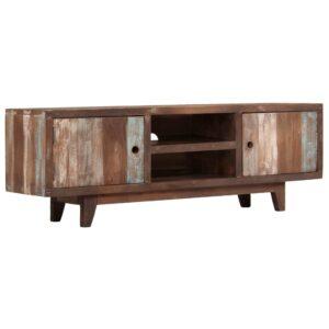 Móvel de TV vintage em madeira de acácia maciça 118x30x40 cm - PORTES GRÁTIS