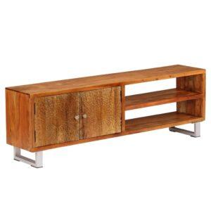 Móvel de TV madeira maciça c/ portas esculpidas 140x30x40 cm - PORTES GRÁTIS