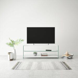 Suporte para TV em vidro e MDF branco brilhante - PORTES GRÁTIS