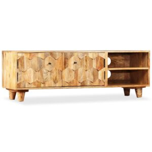 Armário TV madeira de mangueira maciça 118x35x40 cm - PORTES GRÁTIS