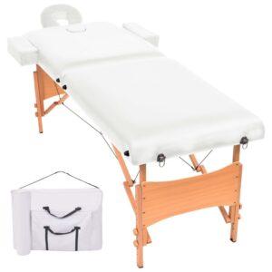 Mesa de massagem dobrável de 2 zonas 10 cm espessura branco - PORTES GRÁTIS