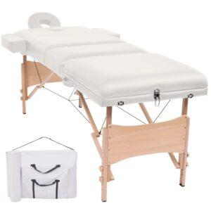 Mesa de massagem dobrável de 3 zonas 10 cm espessura branco - PORTES GRÁTIS