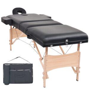 Mesa de massagem dobrável de 3 zonas 10 cm espessura preto - PORTES GRÁTIS