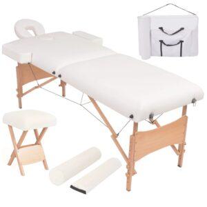 Mesa massagem dobrável 2 zonas + banco 10 cm espessura branco - PORTES GRÁTIS