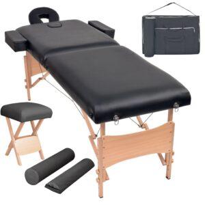 Conj. mesa massagem dobrável 2 zonas + banco 10cm espess. preta - PORTES GRÁTIS