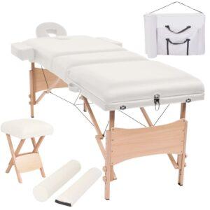 Conj. mesa massagem dobrável 3 zonas + banco 10cm espes. branco - PORTES GRÁTIS