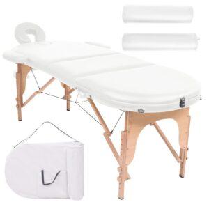 Mesa de massagem dobrável c/ 2 rolos 10cm espessura oval branco - PORTES GRÁTIS