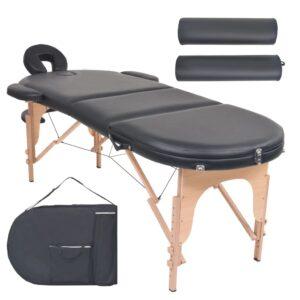 Mesa de massagem dobrável c/ 2 rolos 10 cm espessura oval preto - PORTES GRÁTIS