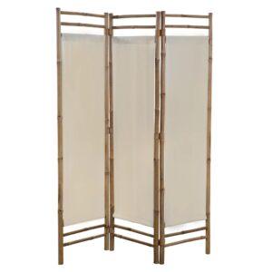 Biombo com 3 painéis dobráveis bambu e lona 120 cm    - PORTES GRÁTIS
