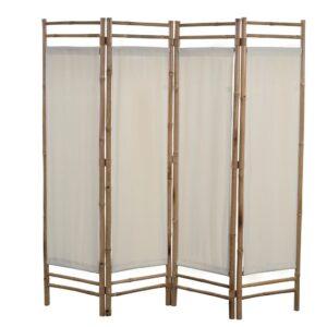 Biombo com 4 painéis dobráveis bambu e lona 160 cm - PORTES GRÁTIS