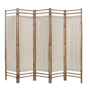 Biombo com 5 painéis dobráveis bambu e lona 200 cm - PORTES GRÁTIS