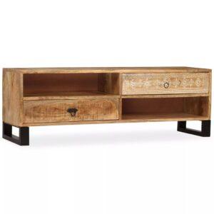 Móvel de TV em madeira de mangueira maciça 120x30x40 cm - PORTES GRÁTIS