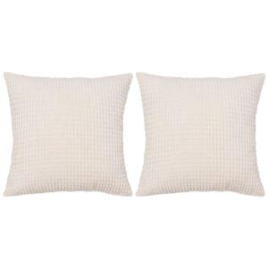Conjunto de 2 almofadas em veludo 60x60 cm branco pálido - PORTES GRÁTIS