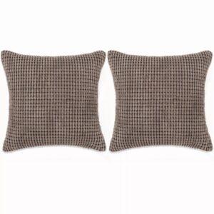 Conjunto de 2 almofadas em veludo 45x45 cm castanho - PORTES GRÁTIS