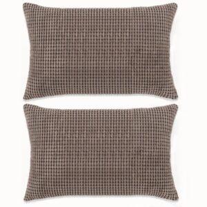 Conjunto de 2 almofadas em veludo 40x60 cm castanho - PORTES GRÁTIS
