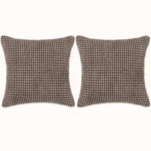 Conjunto de 2 almofadas em veludo 60x60 cm castanho - PORTES GRÁTIS