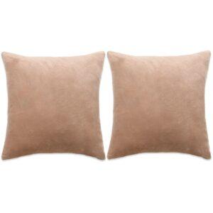 Conjunto de 2 almofadas em veludo 60x60 cm bege - PORTES GRÁTIS