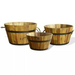 Conjunto vasos de jardim 3 pcs madeira de acácia maciça - PORTES GRÁTIS