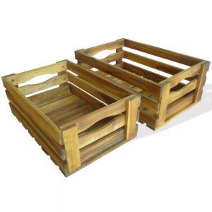 Conjunto de caixas para maçãs 2 pcs madeira de acácia maciça - PORTES GRÁTIS