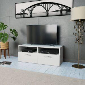 Móvel de TV em aglomerado 95x35x36 cm branco  - PORTES GRÁTIS
